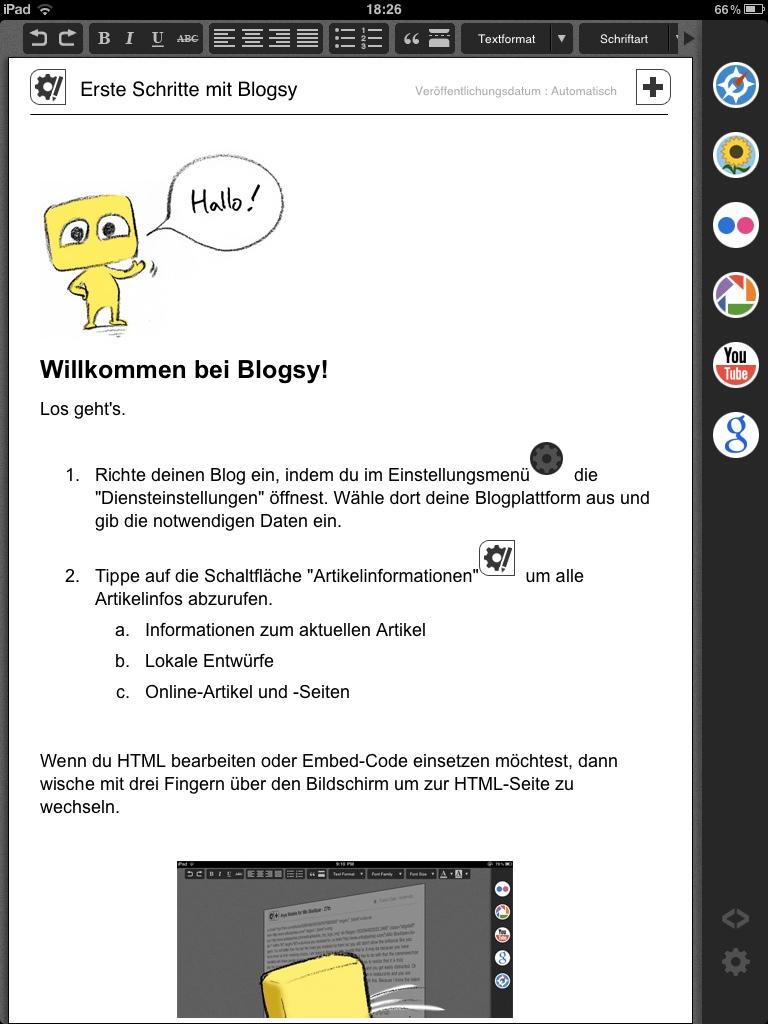 Blogsy iPad App Erste Schritte Einrichtung Test